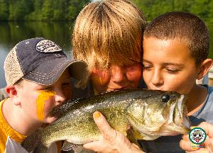 Paul Newman stocked the Camp Lake with lots of small fish for the kids to catch! They're not small anymore:)